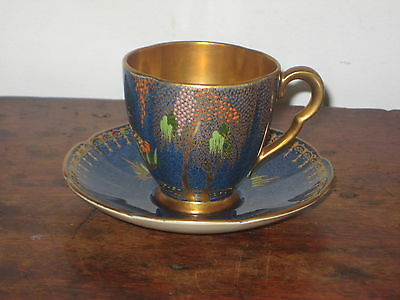Carlton Ware Cup & Saucer Bird In Tree Reeds To Cup Art Deco Design