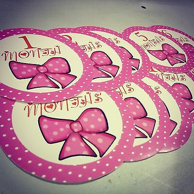 Monthly girls stickers. Pinkbow bodysuit month stickers. Pink bow small ladies