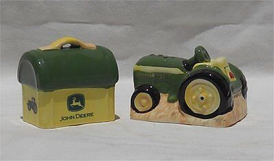 John Deere Tractor & Lunch Box Salt & Pepper Shakers Mint in Box