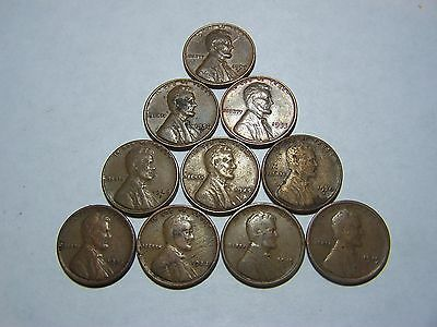 10-Lincoln Wheats 1919 1919-S 1923 1925-S 1930-S 1945 1948-D 1953 1956-D 1958-D