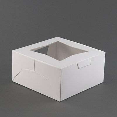 Pack of 25 Window Bakery / Cake Box 10x10x5 WHITE