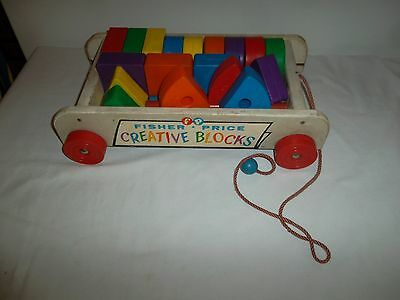 Vintage 1961 Fisher Price Creative Block Pull Wagon Complete