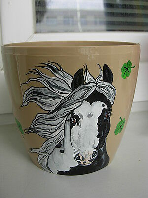 Pinto Horse Painting Flower Pot-03