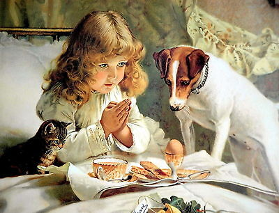 BARBER Art Print SUSPENCE Victorian Girl Praying w Jack Russell Terrier Dog Cat