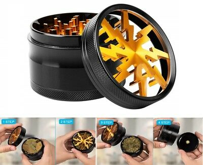 Tobacco Herb Spice Grinder 4 Piece Herbal Magnetic 2.4 Inch Aluminum Crusher New