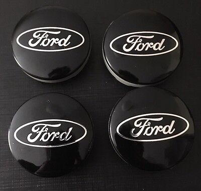 4x FORD BLACK ALLOY WHEEL CENTRE CAPS 54mm MONDEO FOCUS FIESTA CMAX KUGA SMAX X4