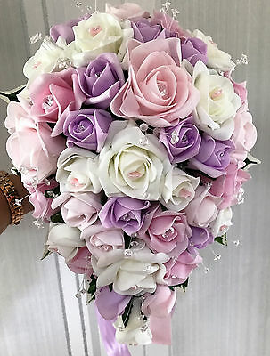 Brides Wedding Flowers Teardrop Bouquet Lilac/Pink/Ivory with diamante
