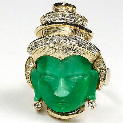 Hattie Carnegie (unsigned) Gold Pave and Jade Buddha Face Finger Ring