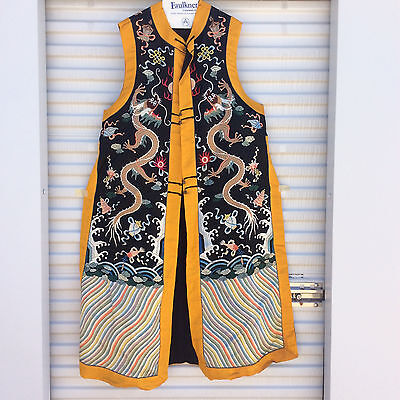Chinese Silk Embroidery Robe, Black Background, Yellow Boarder, Five toed Dragon