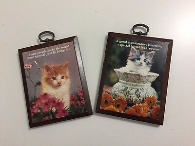 Lot of 2 1980s Wood Plaques Real Photograph Kitten Cat Special Friend Wall Desk