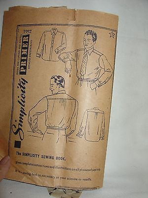Simplicity Pattern #1952 mens shirt size 14 1/2 to 15 1/2 used