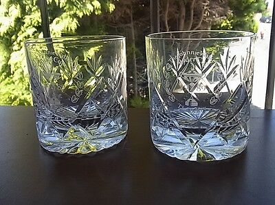 "Pair Whisky Glasses Cut & Etched ""johnnie Walker Ryder Cup The Belfry 1989"" Vgc"