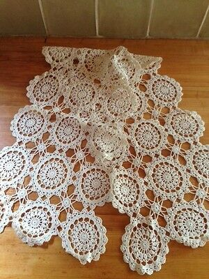 "Antique white hand-crocheted lace , table runner/mantle scarf, 40"" x 10"""