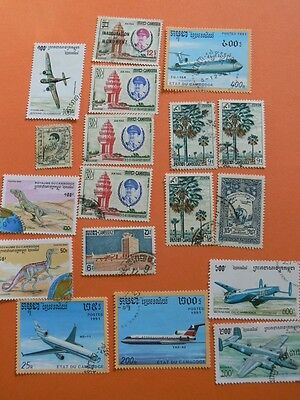 A Lot of 18 Mixed CAMBODIA Stamps. Includes Dinosaurs & Planes.