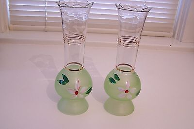 Vintage Pair of Handpainted Clear and Green Frosted Vases