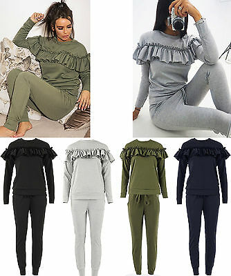 New Ladies Frill Ruffle Detail Top Bottom Loungewear Co Ord Set Tracksuit