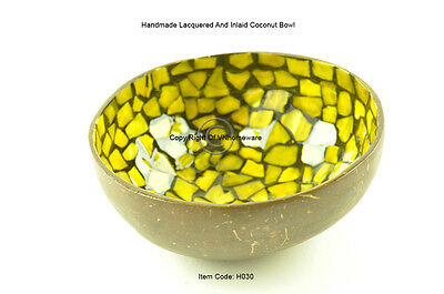 Handmade Decorative Coconut Bowl, Lacquered & Inlaid With Sea-Shell, Yellow H030