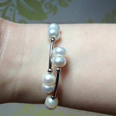 Azendi Sterling Silver and Freshwater Pearl Bracelet