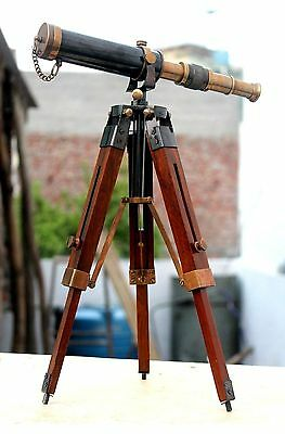Solid Brass Antique Functional Telescope With Wooden Tripod Nautical Decorative