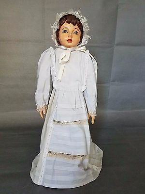 Vintage  hand carved wood doll,soft body, clothes,hand-painted