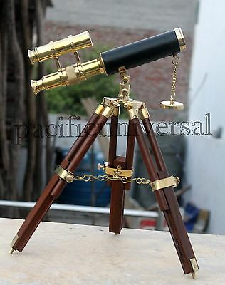 Nautical Brass Double Barrel Telescope With Table Top Wooden Tripod Stand Decor.