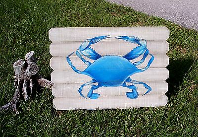 Blue Crab hand painted on Barnwood plaque recyled wood stressed maryland crabs
