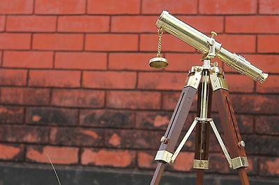 Antique Style Brass Telescope With Wooden Tripod Nautical Marine Spy Glass Decor