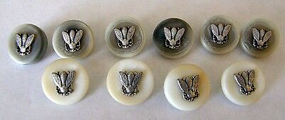 10 Honey Bee Buttons 6 With Gray Background 4 With White Silver Plate Bee's