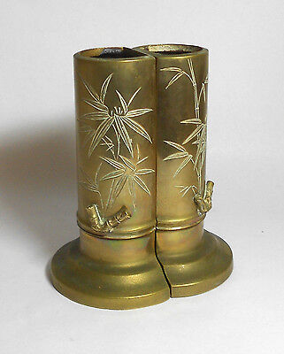 ANTIQUE SIGNED BRASS VASE BOOKENDS bamboo fine Japanese carved applied