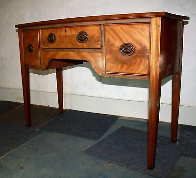 Quality vintage mahogany bow fronted dressing table, side, desk 1930s
