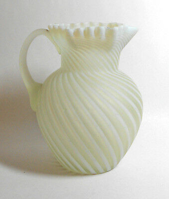 ANTIQUE NORTHWOOD OPALESCENT SWIRL GLASS PITCHER satin white & clear early