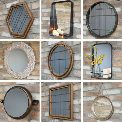 Vintage Wall Mounted Bevelled Mirror Carved Effect Resin Shabby Metal Frame NEW