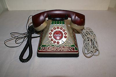 Coca Cola Stained Glass Look Push Button Dial Lights Up Base Complete & Works