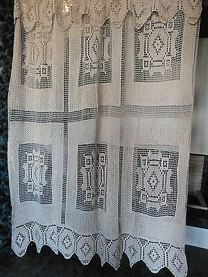 Vintage retro shabby chic hand-crocheted cotton lace curtain/ tablecloth