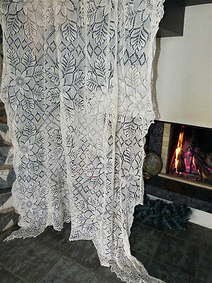 Vintage retro shabby chic hand-crocheted linen lace curtain/ throw