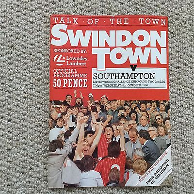Swindon V Southampton Football Programme 1986 Littlewoods Challenge Cup  Round