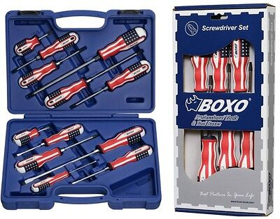 USA Style 12pc SCREWDRIVER & 6pc TORX SET by BOXO Phillips Pozi Slotted T10/T40