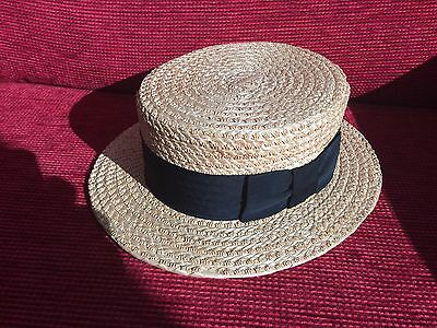 Vintage Straw Boater Hat 6 3/4 The York Hat