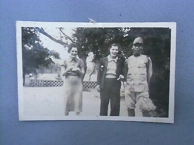 4J69 Vtg Japanese Photo Post WW2 Occupation Soldier foreign woman Garden C1947