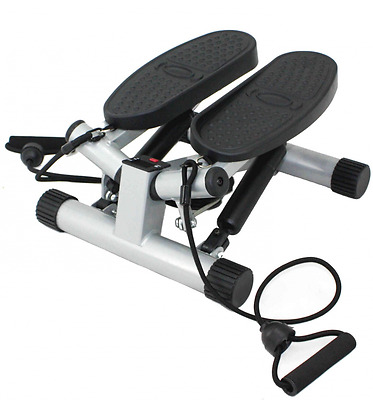 Sunny Health & Fitness Twisting Stair Stepper with Band, Silver