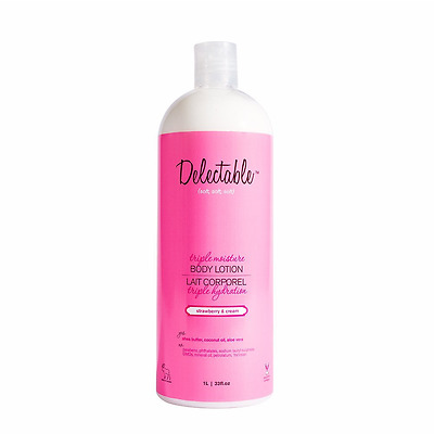 Delectable by Cake Beauty C644 Strawberry & Cream Triple Moisture Body Lotion, 3