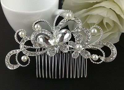 Wedding accessories / Butterfly pearl and crystal hair comb - bridal accessory