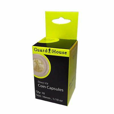 Direct Fit Air Tight Coin Capsules, 1/10oz Gold Eagle by Guardhouse 16mm, 10 pk