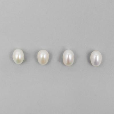 White Freshwater Cultured Pearls (Half Drilled) Ovals Approx 8x11mm 4pcs/set