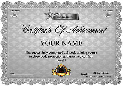Certificate  A4  Security unarmed combat Training ( Novelty )