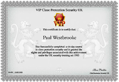 Certificate  A4  Security Training ( Novelty )
