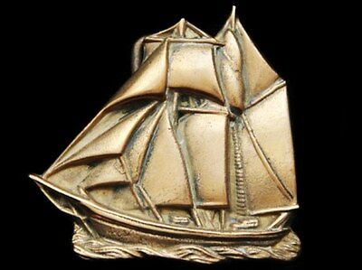 Ij09166 Vintage 1978 Baron Cut-Out ***antique Sailing Ship*** Solid Brass Buckle