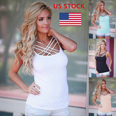 US Ladies Women Cross Strappy Tops Vests Summer Backless Sleeveless Shirt Blouse