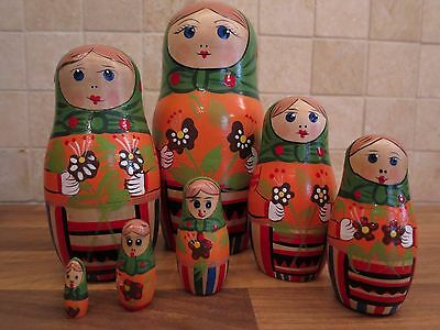 Vintage and Collectable Set of 7 Wooden Russian Nesting Dolls Matryoshka
