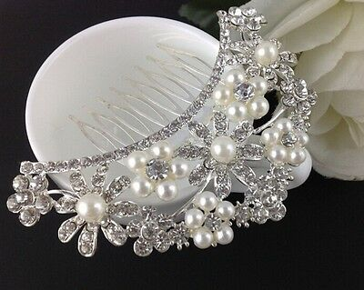 Wedding accessories / Floral pearl and crystal hair comb - bridal accessory